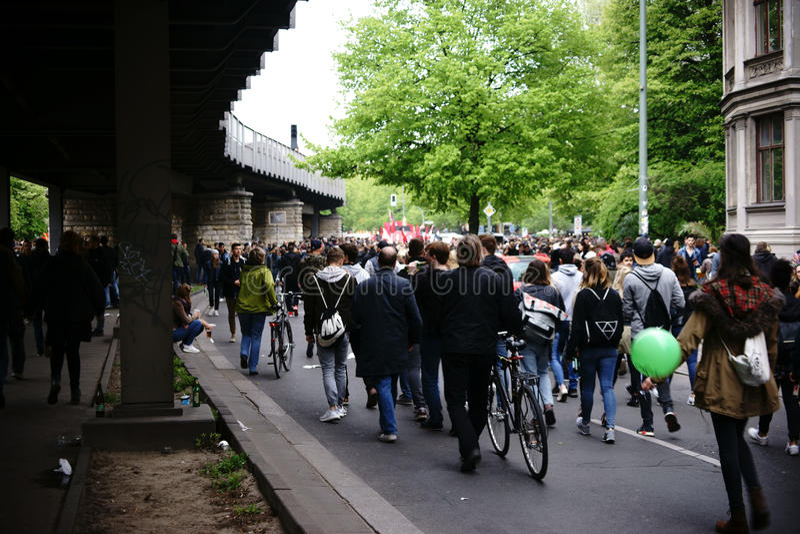 1 de mayo demostración Berlin Kreuzberg foto de archivo libre de regalías
