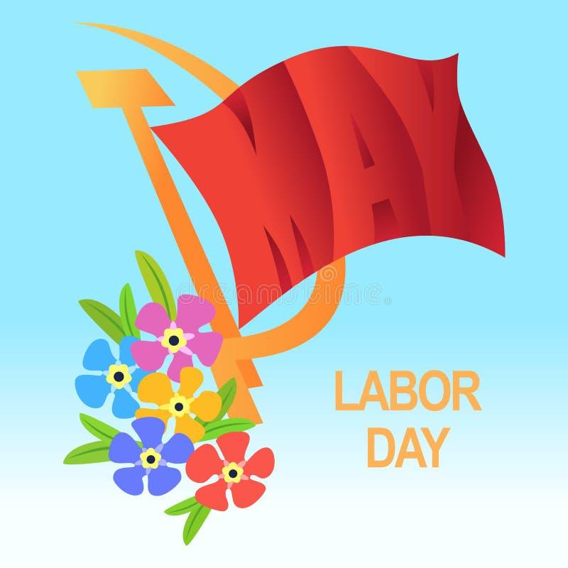 1 de mayo el día del trabajador Día del Trabajo internacional, primero de mayo Bandera roja, h stock de ilustración