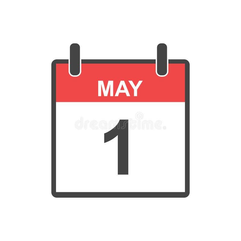 1 de mayo icono del calendario Día de trabajo, ejemplo del vector en pocilga plana ilustración del vector