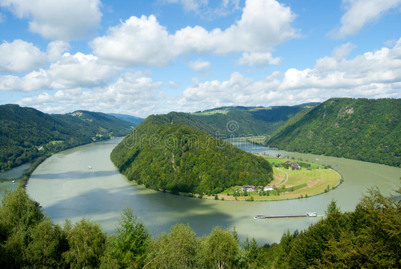 De meander Schloegener Schlinge van Donau in Oostenrijk royalty-vrije stock foto's