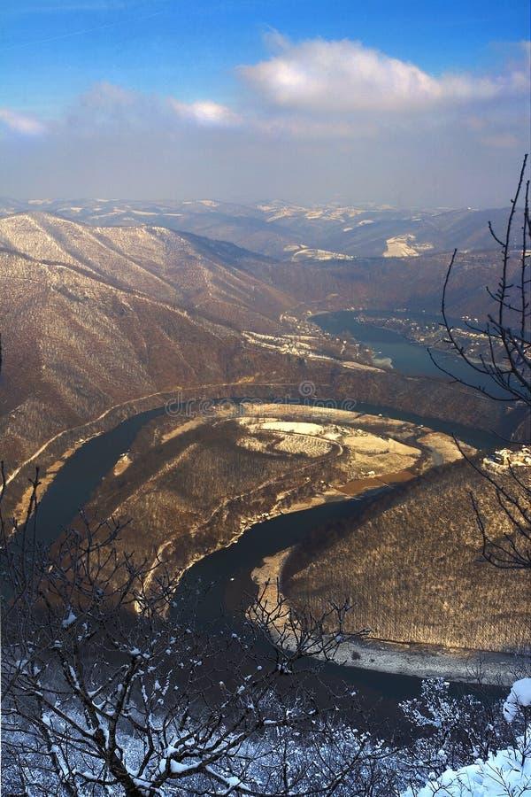 De meander van Morava van het Westen stock afbeeldingen