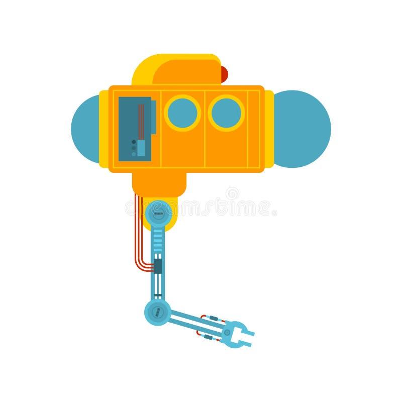 De mechanische hand van de Bathyscaphemanipulator Onderzoek onder water U stock illustratie