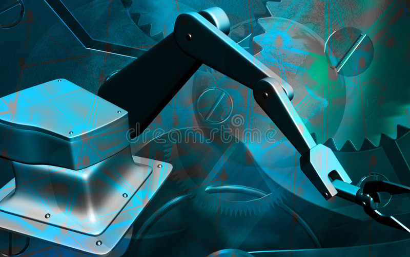 De mechanische hand van Robotâs stock illustratie