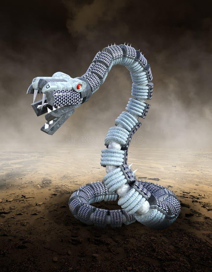De mechanische Slang van de Metaalrobot, Woestijn vector illustratie