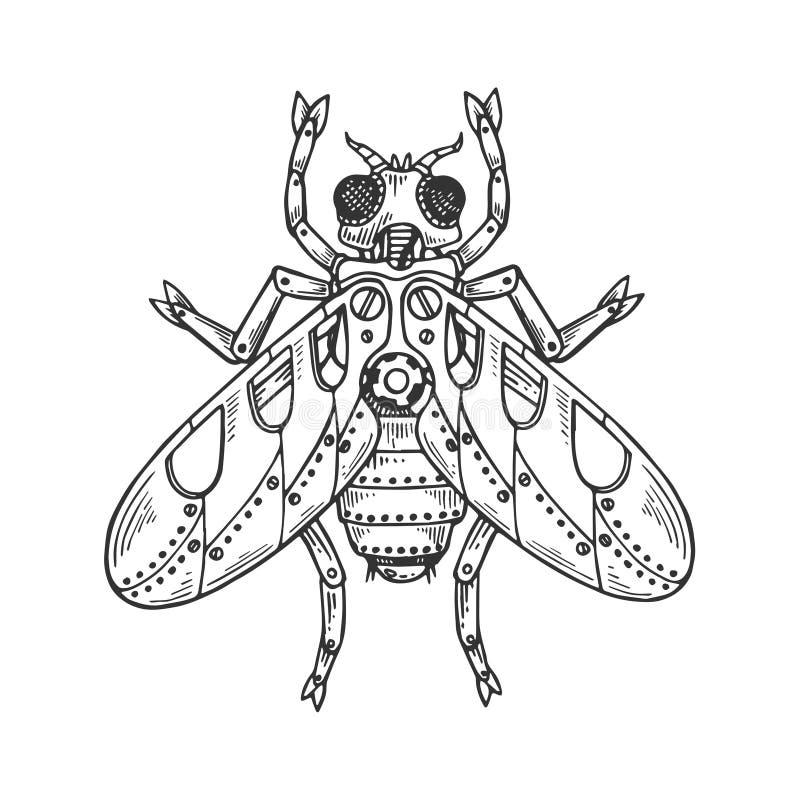 De mechanische vector van de vlieg dierlijke gravure royalty-vrije illustratie