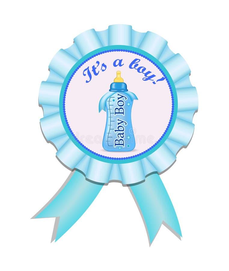 De medaille van het groetsatijn met fles voor babyjongen Uitnodigingskaart met fles De vectorillustratie eps10 van de babydouche stock illustratie