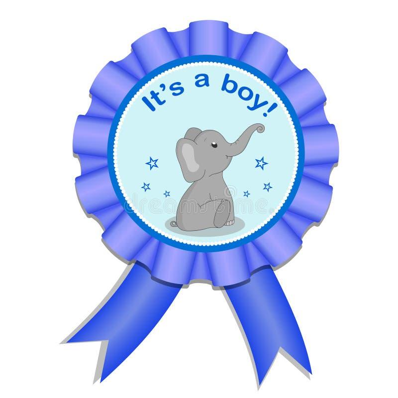 De medaille van het groetsatijn met olifant voor babymeisje Uitnodigingskaart met grijze olifant De kaart van de babydouche op ge stock illustratie