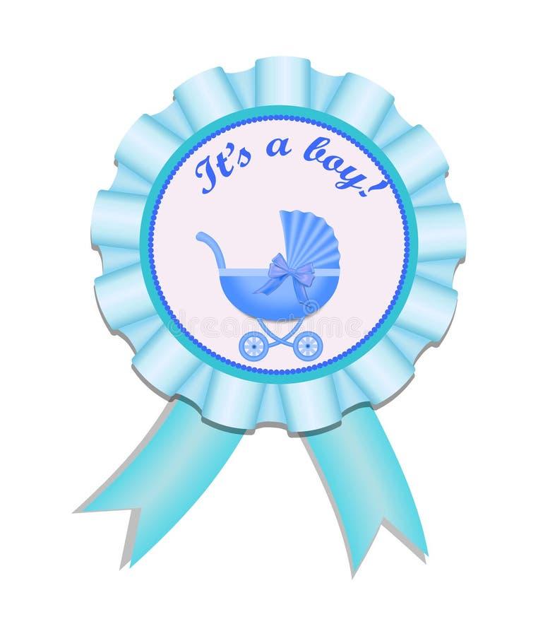 De medaille van het groetsatijn met wandelwagen voor babyjongen Uitnodigingskaart met wandelwagen De vectorillustratie eps10 van  vector illustratie