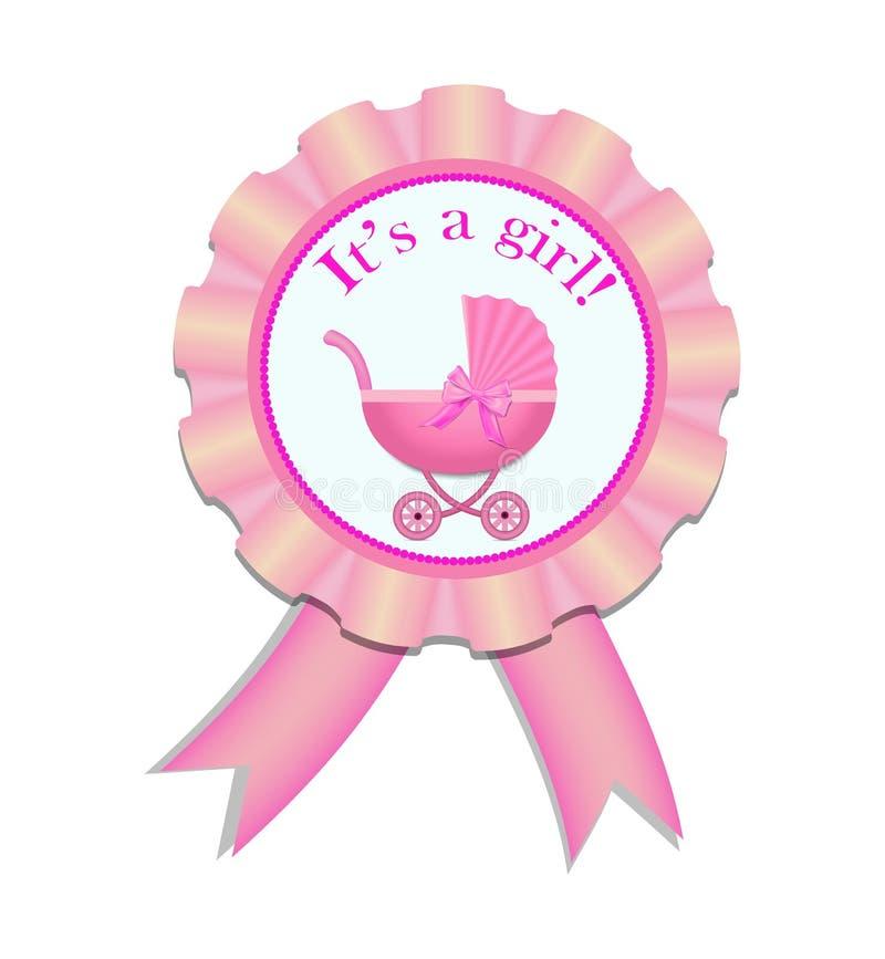 De medaille van het groetsatijn met wandelwagen voor babymeisje Uitnodigingskaart met roze wandelwagen De vectorillustratie eps10 royalty-vrije illustratie