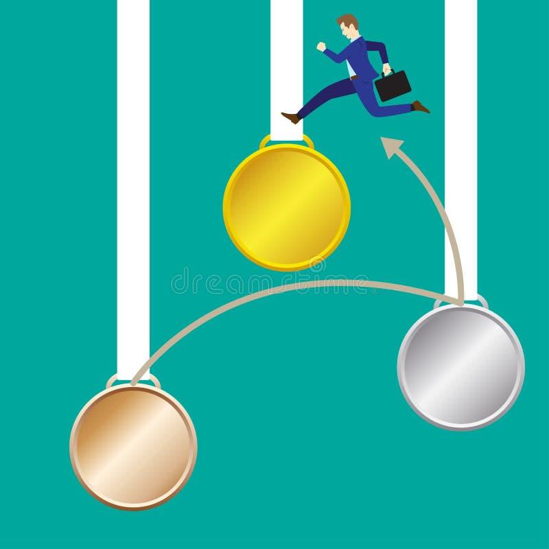 De Medaille van zakenmanjumping to gold stock illustratie