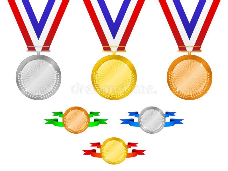 De medailles plaatsen 3 stock illustratie
