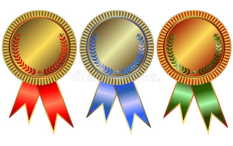 De medailles van het goud, van het zilver en van het brons royalty-vrije illustratie