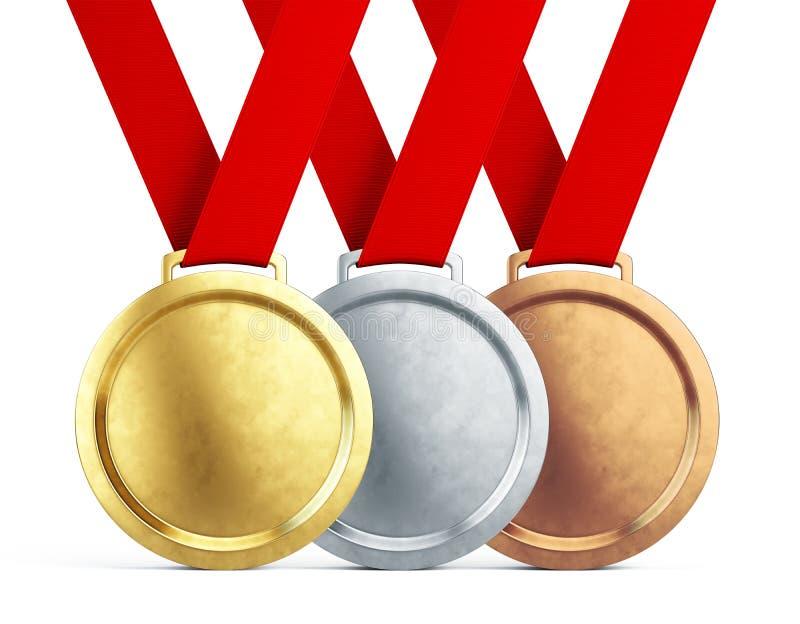 De medailles van het goud, van het zilver en van het brons met rode linten op witte achtergrond royalty-vrije illustratie