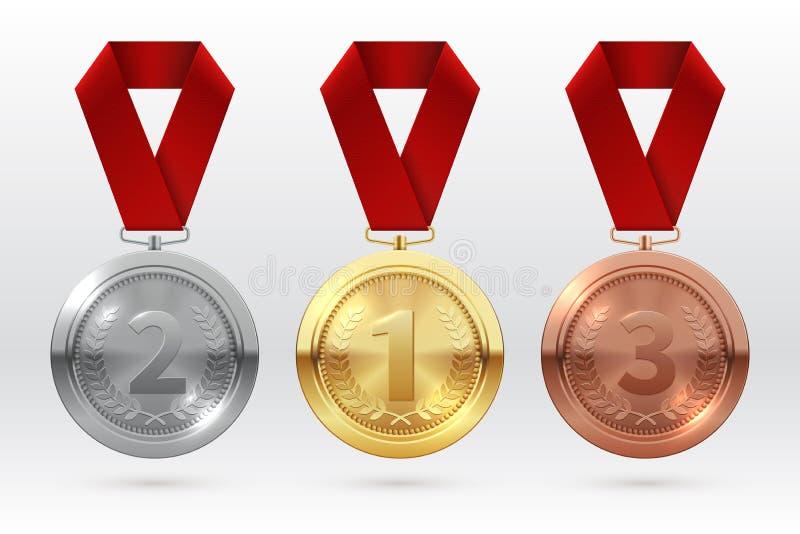 De Medailles van sporten Gouden zilveren bronsmedaille met rood lint De toekenning van de kampioenswinnaar van eervector geïsolee vector illustratie