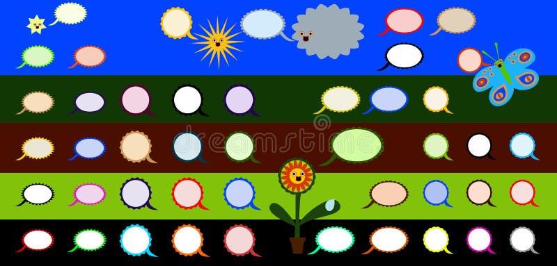 De mededeling borrelt kleurrijke reeks stock illustratie