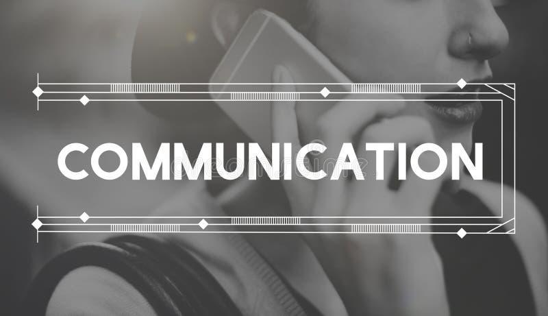 De mededeling deelt het Concept van het Besprekingsgesprek mee stock afbeeldingen