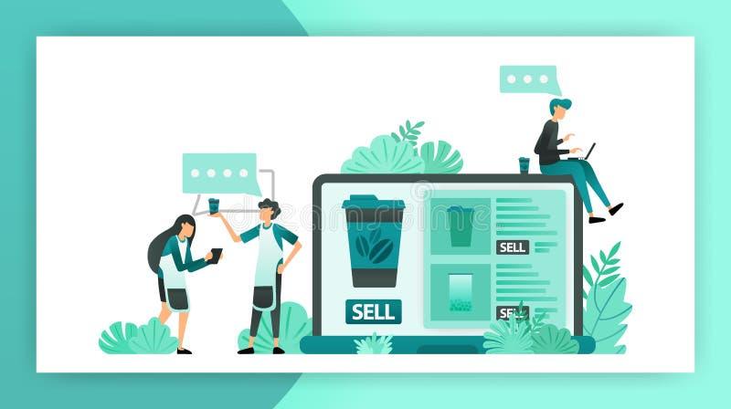 De mededeling die online winkelideeën voor kleine en middelgrote ondernemingen zoeken, begint te verkopen gebruikend Internet de  vector illustratie