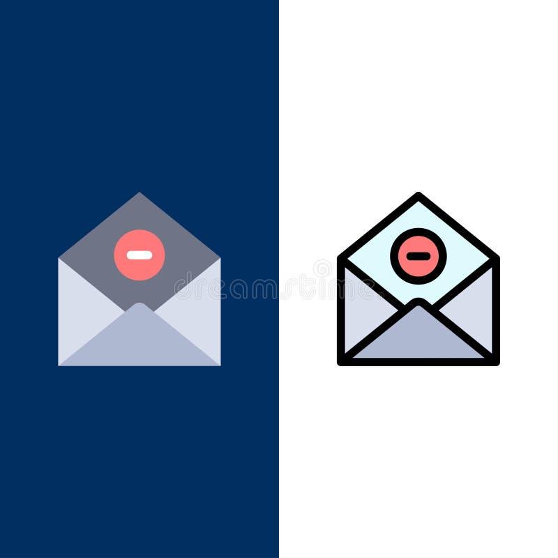 De mededeling, schrapt, schrapping-Post, E-mailpictogrammen Vlak en Lijn vulde Pictogram Vastgestelde Vector Blauwe Achtergrond royalty-vrije illustratie