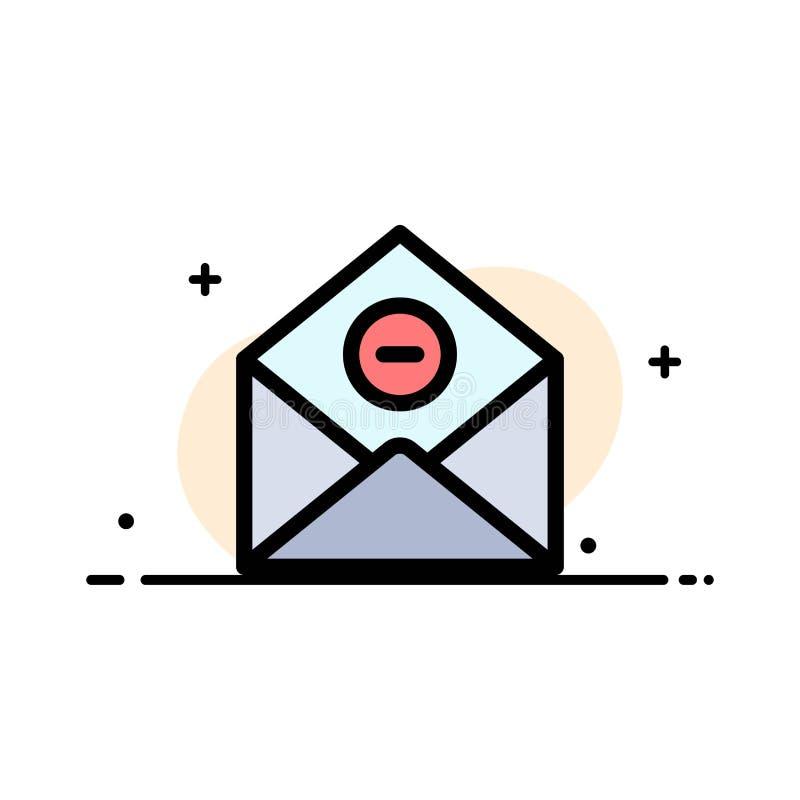De mededeling, schrapt, schrapping-Post, Malplaatje E-mail van de Bedrijfs het Vlakke Lijn Gevulde Pictogram Vectorbanner royalty-vrije illustratie
