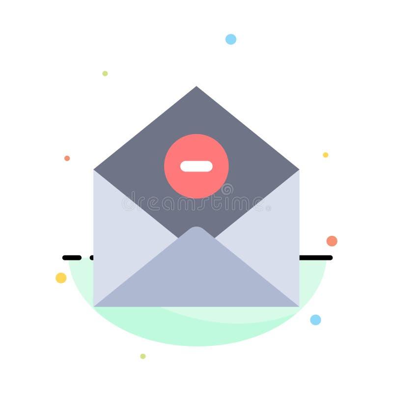 De mededeling, schrapt, schrapping-Post, Malplaatje van het E-mail het Abstracte Vlakke Kleurenpictogram royalty-vrije illustratie