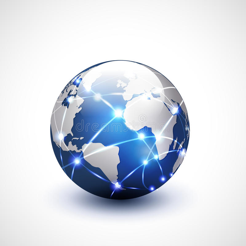 De mededeling van het wereldnetwerk en technologie, illustratie stock illustratie