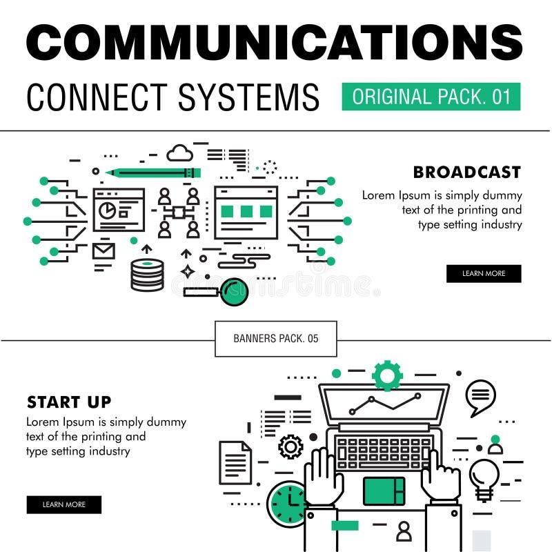 De mededeling verbindt sociaal technologiepak stock afbeeldingen