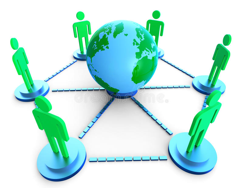 De Mededeling wereldwijd toont Computer Netwerk en het Babbelen vector illustratie