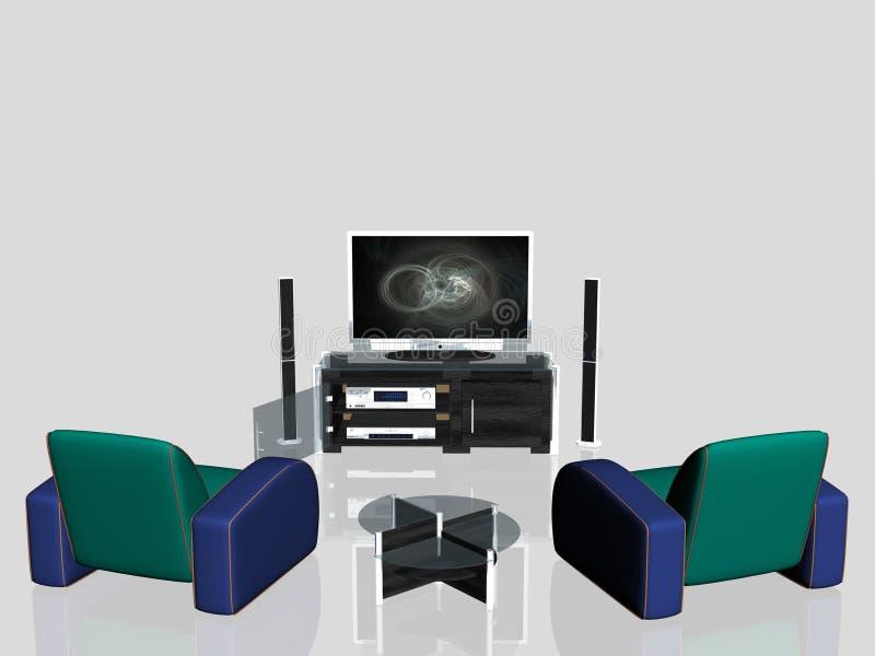 De media centreren, het plasmascherm in woonkamer vector illustratie