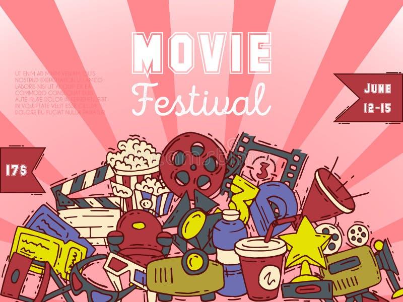 De media van de de affichevlieger van het bioskoopfestival productie achtergrondvector De banner van het verkoopkaartje Filmtijd  vector illustratie