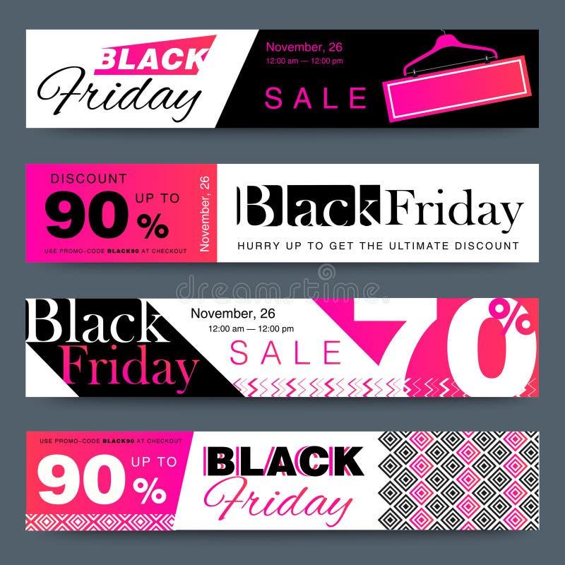 De media van Black Friday creatief sociaal de bannersontwerp van het verkoopweb vector illustratie