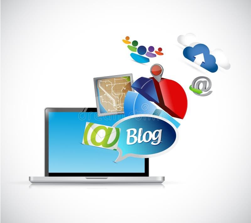 de media van de blogtelefoon het ontwerp van de hulpmiddelenillustratie vector illustratie