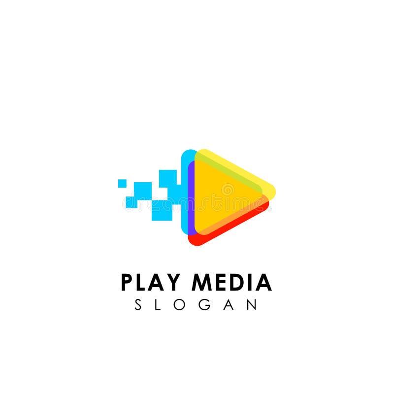 de media van het pixelspel embleemontwerpsjabloon de ontwerpen van het het pictogramsymbool van het driehoeksspel royalty-vrije illustratie