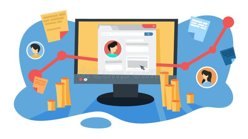 De media van SMO sociaal optimaliseringsconcept Reclame in Internet stock illustratie