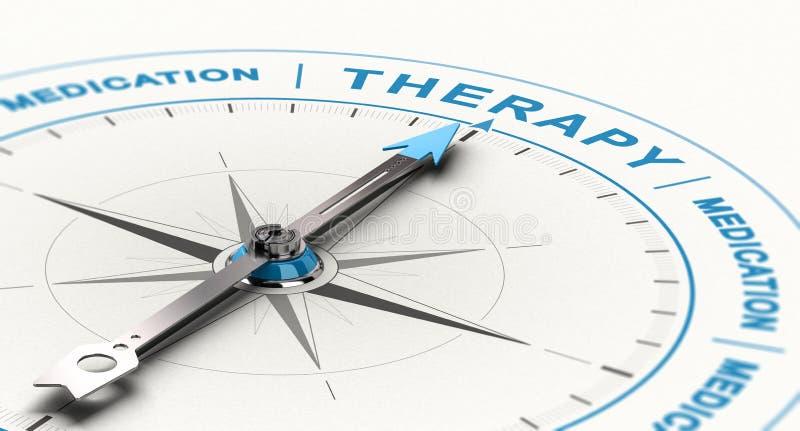 De medicaciones al tratamiento complementario o alternativo de la terapia - para el concepto de la depresión stock de ilustración