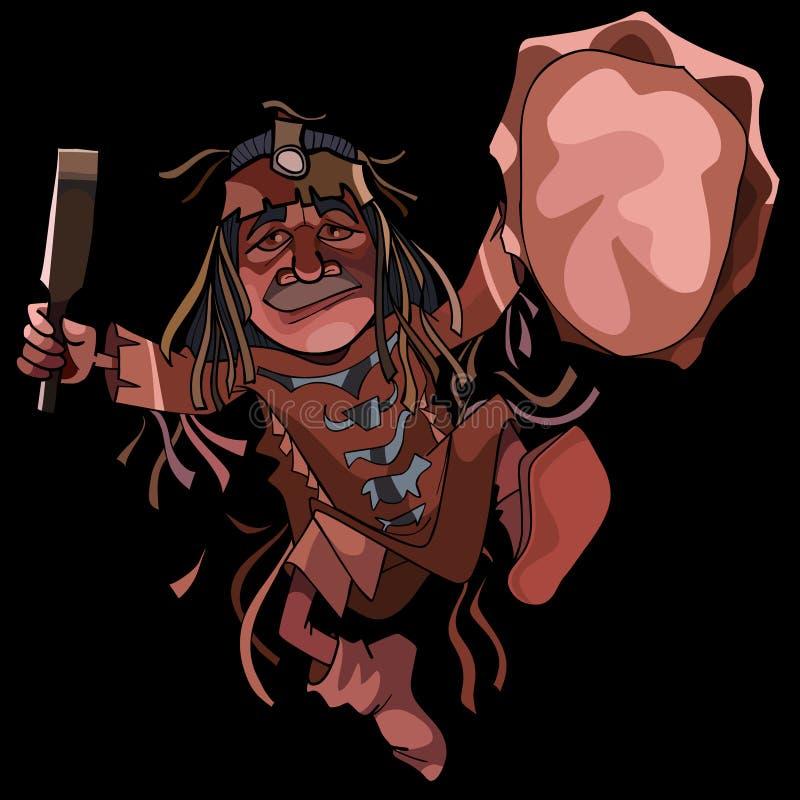 De medicijnman van de beeldverhaalmens het dansen dans met een tamboerijn royalty-vrije illustratie