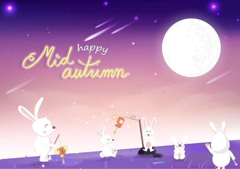 De medio herfst, leuk konijntjesbeeldverhaal met het mirakel van de het landschapsfantasie van de volle maanaard, viering van het royalty-vrije illustratie