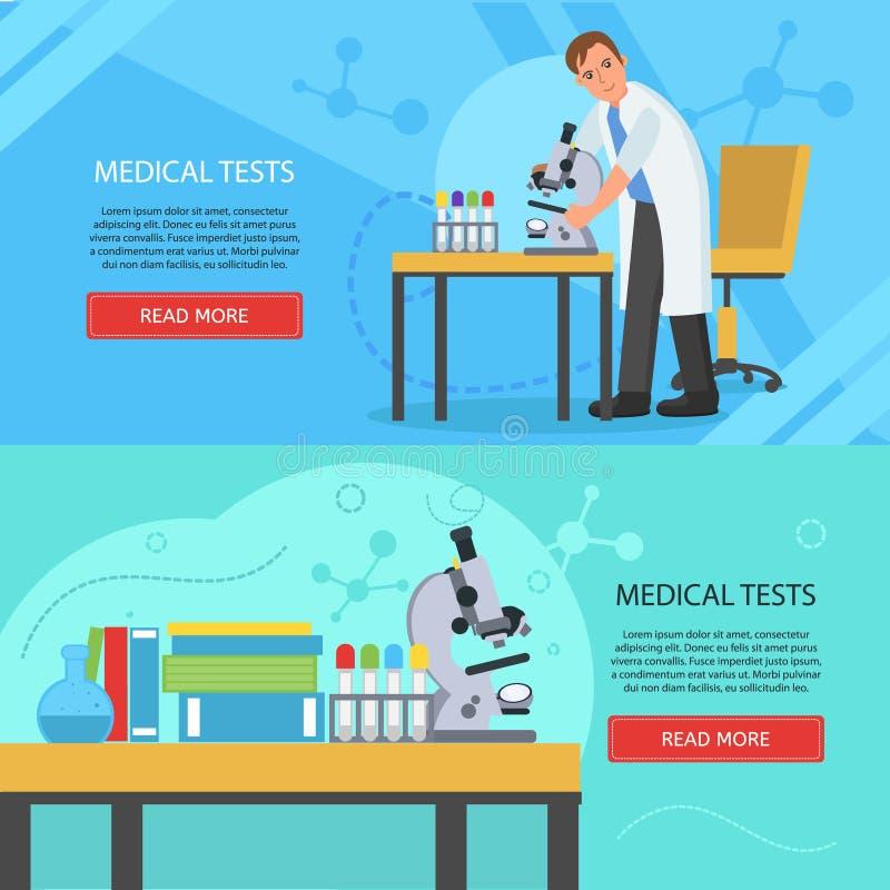 De medische banners van het laboratoriumconcept stock illustratie