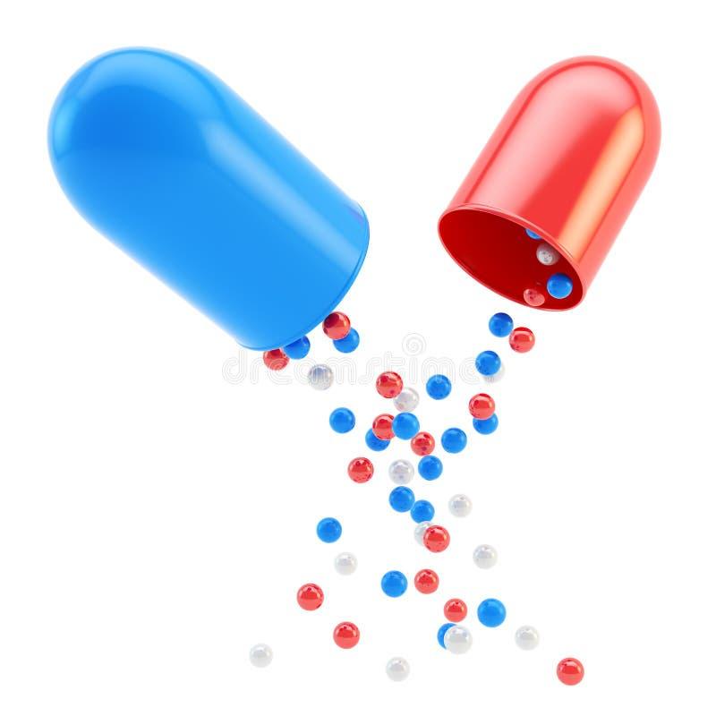 De medische binnenkant van de pillencapsule als sferische elementen royalty-vrije illustratie