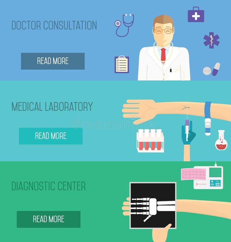 De medische dienstenillustratie Artsenoverleg, laboratoriumanalyse en kenmerkend centrum royalty-vrije illustratie