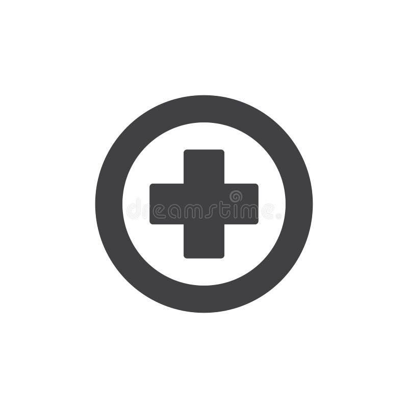 De medische dwarsvector van het embleempictogram royalty-vrije illustratie