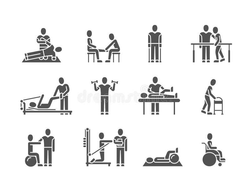 De medische fysieke therapie en van de mensenrehabilitatie vectorpictogrammen van het behandelings zwarte silhouet stock illustratie
