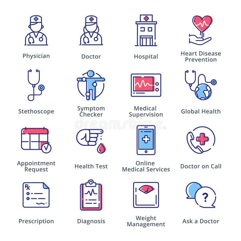 De medische & Gezondheidszorgpictogrammen plaatsen 1 - schets Reeks royalty-vrije illustratie