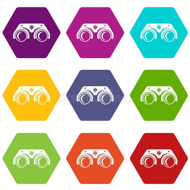 De medische glazenpictogrammen plaatsen 9 stock illustratie