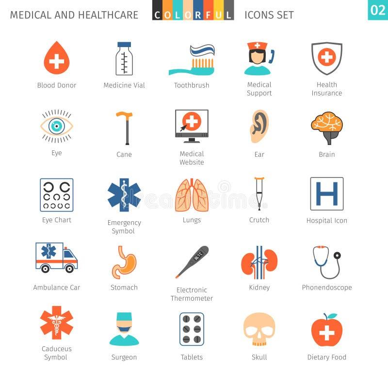 De medische Kleurrijke Pictogrammen plaatsen 02 stock illustratie
