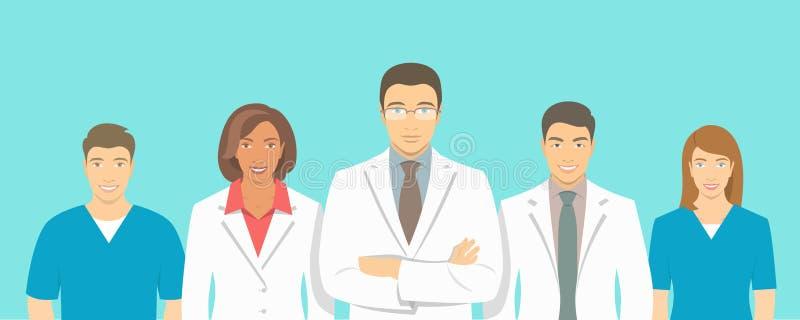 De medische kliniek vector vlakke illustratie van het artsenteam stock illustratie