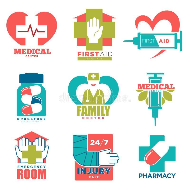 De medische kruis en hart vectorpictogrammen voor eerste hulpgeneeskunde of het artsenziekenhuis centreren stock illustratie
