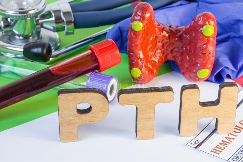 De medische laboratoriumafkorting PTH of parathyroid hormoon, dat door bijschildklier en het gebruiken van zijn bloedonderzoek wo stock foto