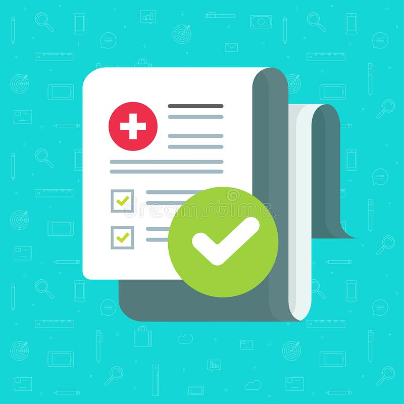 De medische lijst van de vormcontrole met resultatengegevens en goedgekeurd vinkje vectorpictogram, het vlakke document van de be vector illustratie