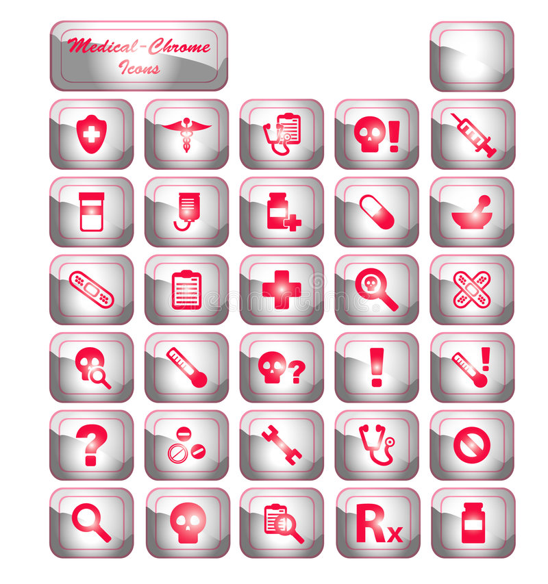 De medische Pictogrammen van het Chroom stock afbeeldingen