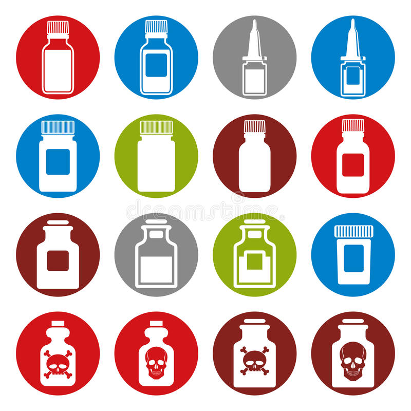 De medische reeks van het flessenpictogram stock illustratie